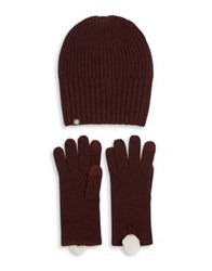 Ugg Two Piece Rib Knit Hat And Gloves Set Port
