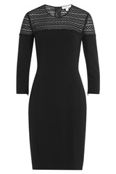 Burberry London Stretch Cotton Sheath With Lace Crochet Top Black