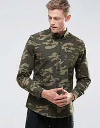 Asos Oxford Shirt In Camo With Long Sleeves Green