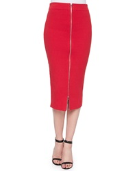 T By Alexander Wang Zip Front Ribbed Midi Pencil Skirt
