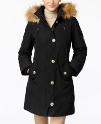 Michael Kors Hooded Faux Fur Trim Down Parka Black