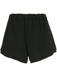 Bassike Crepe Flared Layered Short Black