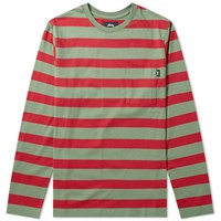 Stussy Malcolm Stripe Crew Sweat Green