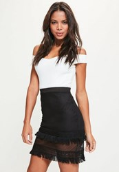 Missguided Black Fringe Lace Hem Mesh Mini Skirt
