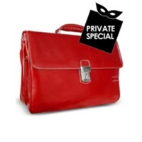 Chiarugi Men's Genuine Leather Double Gusset Briefcase Red