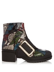 Burberry The Buckle Watersnake Ankle Boots Green Multi