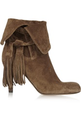 Chloe Tassel Trimmed Suede Ankle Boots