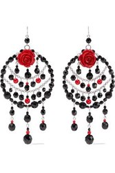 Ben Amun Silver Tone Bead And Resin Earrings Red