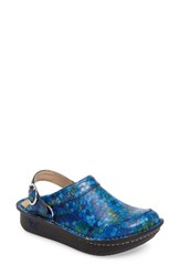 Alegria Women's Seville Water Resistant Clog Honeycomb Blues Leather