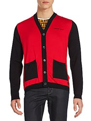 Versace Colorblock Cotton Cardigan Red