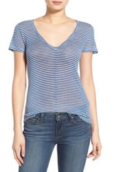 Paige Hadley Striped V Neck Tee Blue