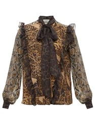 Preen By Thornton Bregazzi Blakely Leopard And Snake Print Pussy Bow Blouse Leopard