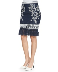 Elle Sasson Helen Embroidered Denim Pencil Skirt