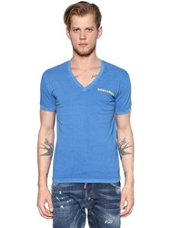 Dsquared Printed Cotton Jersey V Neck T Shirt