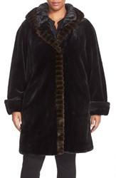 Plus Size Women's Gallery Hooded Faux Fur Walking Coat