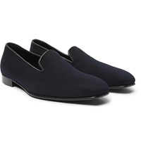 Anderson And Sheppard George Cleverley Leather Trimmed Cashmere Slippers Blue