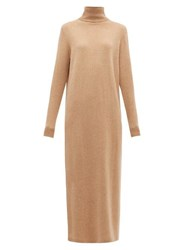 Allude Roll Neck Wool Blend Maxi Sweater Dress Camel