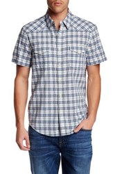 Lucky Brand Plaid Short Sleeve Regular Fit Shirt Blue