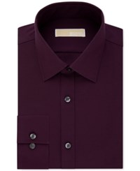 Michael Kors Classic Fit Non Iron Houndstooth Dress Shirt Coffee