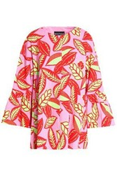Boutique Moschino Floral Print Woven Cotton Blend Coat Pink