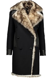 Tom Ford Leather And Faux Shearling Trimmed Wool Blend Coat Black