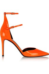 Tamara Mellon Secret Date Patent Leather Pumps Bright Orange