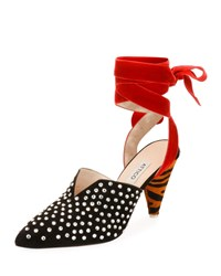 Attico Olivia Crystal Embellished Suede Pumps With Ankle Wrap Black Red