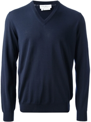 Salvatore Ferragamo Classic V Neck Sweater Blue