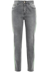 Just Cavalli Woman Neon Trimmed Faded High Rise Slim Leg Jeans Gray