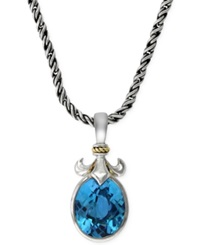 Effy Collection Effy Blue Topaz 6 1 5 Ct. T.W. Fleur De Lis Pendant Necklace In 18K Gold And Sterling Silver No Color