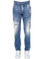 Dsquared 16.5Cm Classic Kenny Plaid And Denim Jeans Navy
