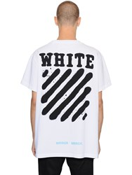 Off White Spray Stripes Cotton Jersey T Shirt