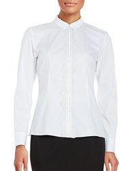 Elie Tahari Alondra Lace Accented Snap Front Shirt White