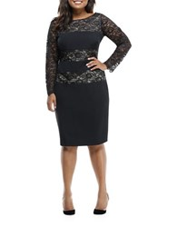 London Times Plus Lace Blocked Sheath Dress Black