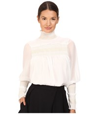 See By Chloe High Neck Georgette Blouse Natural White