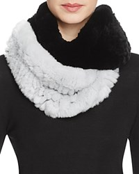 Surell Two Tone Rabbit Fur Infinity Scarf 100 Bloomingdale's Exclusive Ice Blue Black