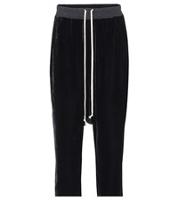 Rick Owens Cropped Velvet Trousers Black