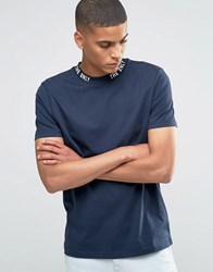 Asos T Shirt With Printed Turtle Neck In Navy Navy