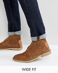 Asos Wide Fit Desert Boots In Tan Suede With Leather Detail Tan