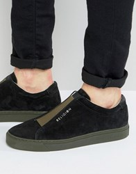 Religion Gusset Suede Trainers Black