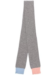 Chinti And Parker Contrasting Edges Knitted Scarf Grey