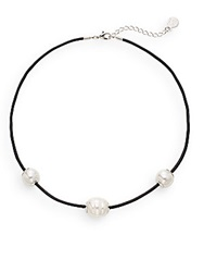 Majorica 14Mm White Round Pearl And Leather Necklace Black White