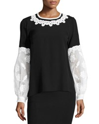 Andrew Gn Embroidered Puff Sleeve Silk Blouse Black