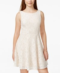 Speechless Juniors' Lace Fit And Flare Tank Dress Only At Macy's Eggshell