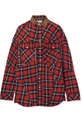 R 13 R13 Oversized Leopard Print Canvas Trimmed Checked Cotton Flannel Shirt Red