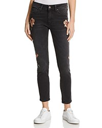 Mavi Jeans Adriana Floral Embroidered Skinny In Smoke Rose