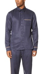 3.1 Phillip Lim Long Sleeve Pajama Piping Shirt Navy