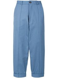 Societe Anonyme Cropped Chino Trousers Cotton Blue