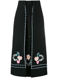 Vilshenko Ginny Floral Embroidered Lace Up Skirt Black