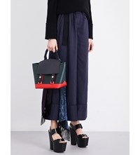 Sacai High Rise Wide Leg Crepe Trousers Navy Black